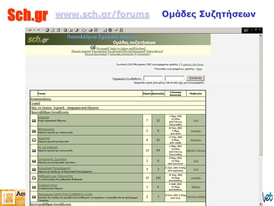Sch.gr www.sch.gr/forumswww.sch.gr/forums Ομάδες Συζητήσεων www.sch.gr/forums