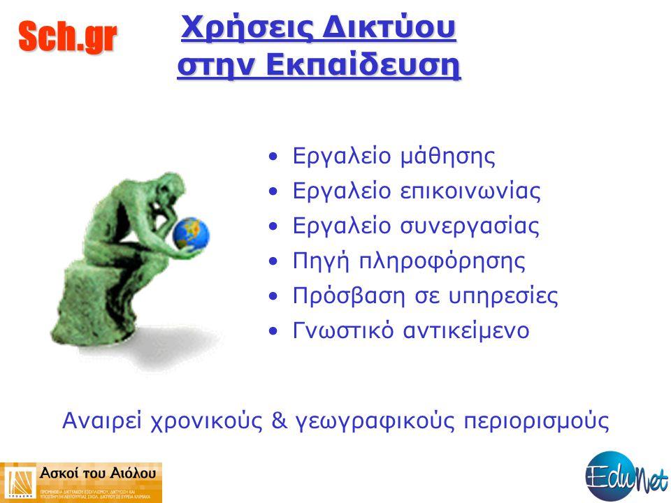 Sch.gr Χρήση Δικτύου από Μαθητές Ηλεκτρονική αλληλογραφία Ανταλλαγή απόψεων και πληροφοριών Αναζήτηση και ανάκτηση πληροφοριών Συνεργασία μαθητών Τηλεκπαίδευση