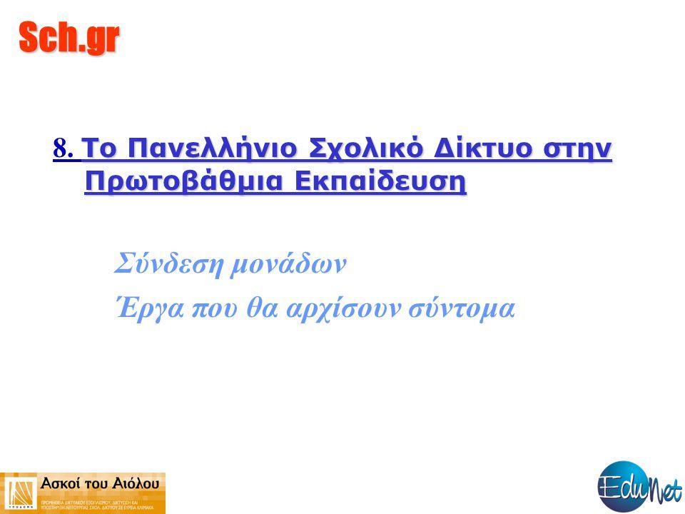 Sch.gr Το Πανελλήνιο Σχολικό Δίκτυο στην Πρωτοβάθμια Εκπαίδευση 8. Το Πανελλήνιο Σχολικό Δίκτυο στην Πρωτοβάθμια Εκπαίδευση Σύνδεση μονάδων Έργα που θ