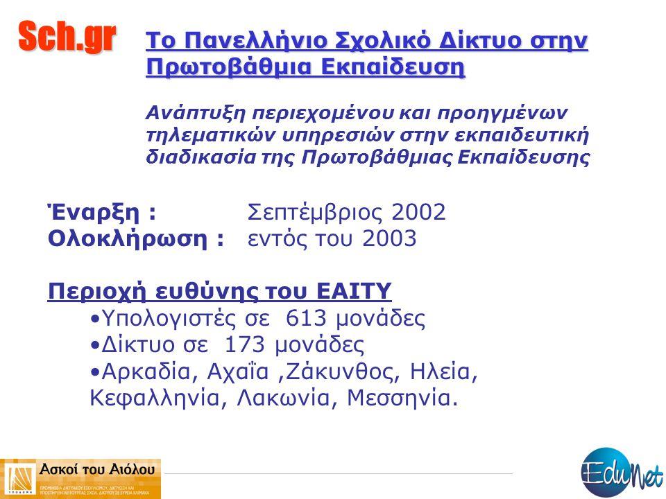 Sch.gr Το Πανελλήνιο Σχολικό Δίκτυο στην Πρωτοβάθμια Εκπαίδευση Ανάπτυξη περιεχομένου και προηγμένων τηλεματικών υπηρεσιών στην εκπαιδευτική διαδικασία της Πρωτοβάθμιας Εκπαίδευσης Έναρξη : Σεπτέμβριος 2002 Ολοκλήρωση : εντός του 2003 Περιοχή ευθύνης του ΕΑΙΤΥ Υπολογιστές σε 613 μονάδες Δίκτυο σε 173 μονάδες Αρκαδία, Αχαΐα,Ζάκυνθος, Ηλεία, Κεφαλληνία, Λακωνία, Μεσσηνία.