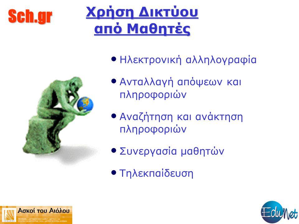 Sch.gr Το Πανελλήνιο Σχολικό Δίκτυο στην Πρωτοβάθμια Εκπαίδευση Το πανελλήνιο Σχολικό Δίκτυο Παρέχει συνδέσεις σε κάθε μονάδα που έχει υποδομή και το αιτείται.