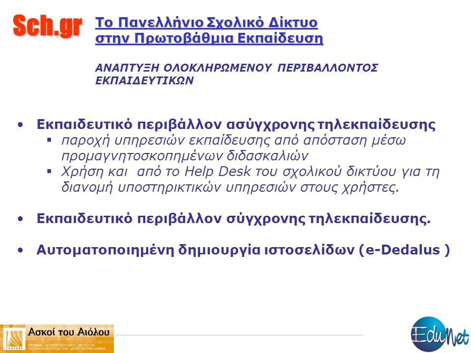 Sch.gr Το Πανελλήνιο Σχολικό Δίκτυο στην Πρωτοβάθμια Εκπαίδευση ΑΝΑΠΤΥΞΗ ΟΛΟΚΛΗΡΩΜΕΝΟΥ ΠΕΡΙΒΑΛΛΟΝΤΟΣ ΕΚΠΑΙΔΕΥΤΙΚΩΝ Εκπαιδευτικό περιβάλλον ασύγχρονης