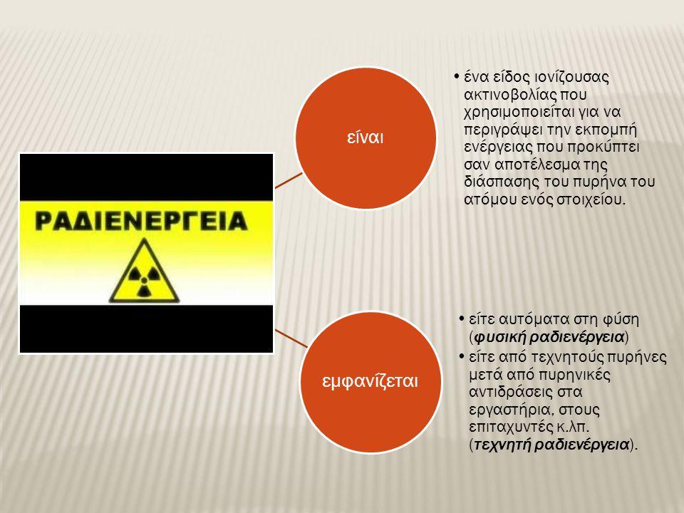 είναι ένα είδος ιονίζουσας ακτινοβολίας που χρησιμοποιείται για να περιγράψει την εκπομπή ενέργειας που προκύπτει σαν αποτέλεσμα της διάσπασης του πυρήνα του ατόμου ενός στοιχείου.