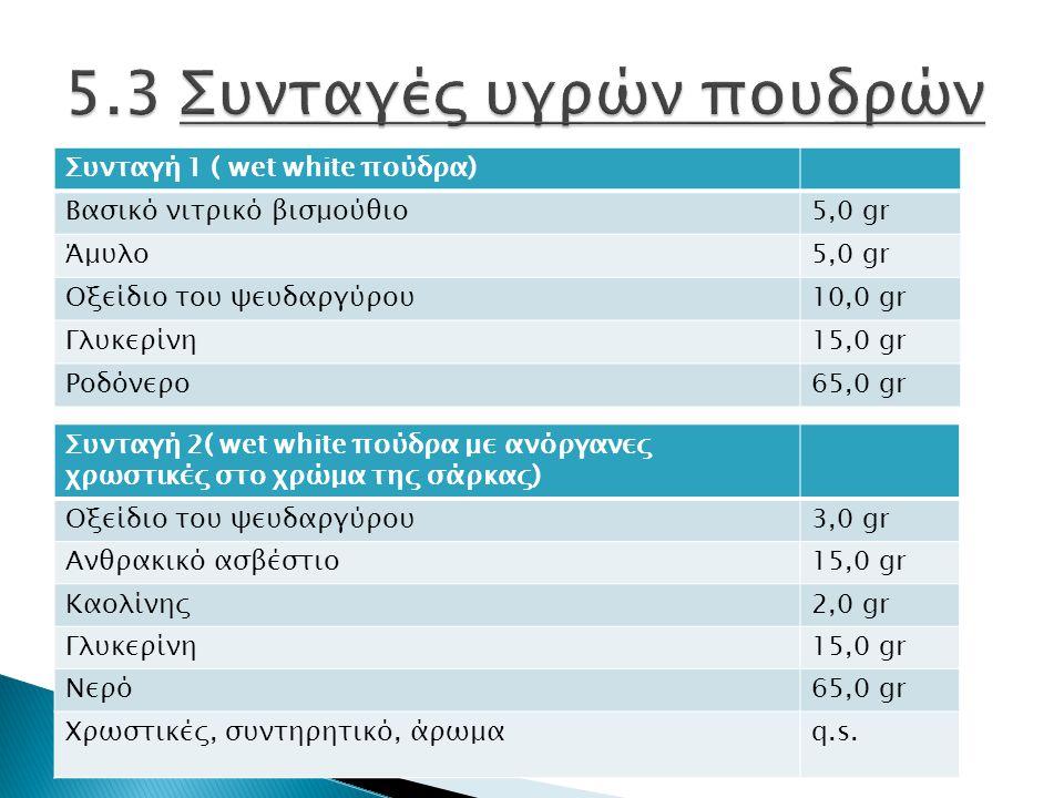 Συνταγή 1 ( wet white πούδρα) Βασικό νιτρικό βισμούθιο5,0 gr Άμυλο5,0 gr Οξείδιο του ψευδαργύρου10,0 gr Γλυκερίνη15,0 gr Ροδόνερο65,0 gr Συνταγή 2( wet white πούδρα με ανόργανες χρωστικές στο χρώμα της σάρκας) Οξείδιο του ψευδαργύρου3,0 gr Ανθρακικό ασβέστιο15,0 gr Καολίνης2,0 gr Γλυκερίνη15,0 gr Νερό65,0 gr Χρωστικές, συντηρητικό, άρωμαq.s.