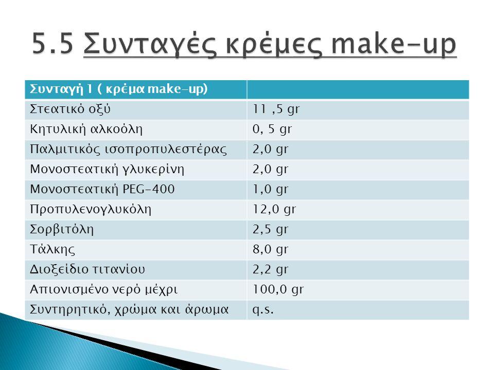 Συνταγή 1 ( κρέμα make-up) Στεατικό οξύ11,5 gr Κητυλική αλκοόλη0, 5 gr Παλμιτικός ισοπροπυλεστέρας2,0 gr Μονοστεατική γλυκερίνη2,0 gr Μονοστεατική PEG-4001,0 gr Προπυλενογλυκόλη12,0 gr Σορβιτόλη2,5 gr Τάλκης8,0 gr Διοξείδιο τιτανίου2,2 gr Απιονισμένο νερό μέχρι100,0 gr Συντηρητικό, χρώμα και άρωμαq.s.