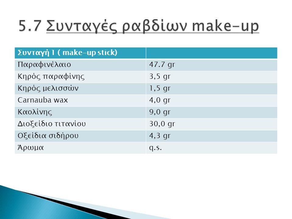 Συνταγή 1 ( make-up stick) Παραφινέλαιο47.7 gr Κηρός παραφίνης3,5 gr Κηρός μελισσών1,5 gr Carnauba wax4,0 gr Καολίνης9,0 gr Διοξείδιο τιτανίου30,0 gr Οξείδια σιδήρου4,3 gr Άρωμαq.s.