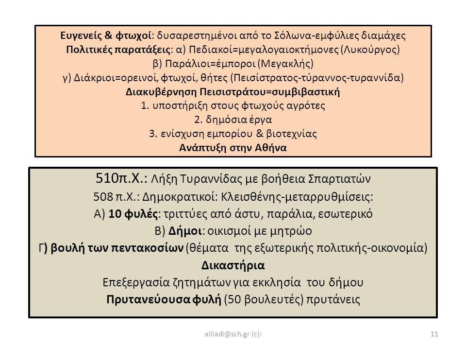Ευγενείς & φτωχοί: δυσαρεστημένοι από το Σόλωνα-εμφύλιες διαμάχες Πολιτικές παρατάξεις: α) Πεδιακοί=μεγαλογαιοκτήμονες (Λυκούργος) β) Παράλιοι=έμποροι (Μεγακλής) γ) Διάκριοι=ορεινοί, φτωχοί, θήτες (Πεισίστρατος-τύραννος-τυραννίδα) Διακυβέρνηση Πεισιστράτου=συμβιβαστική 1.