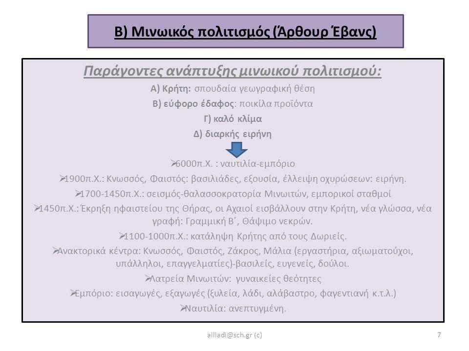 Β) Μινωικός πολιτισμός (Άρθουρ Έβανς) Παράγοντες ανάπτυξης μινωικού πολιτισμού: Α) Κρήτη: σπουδαία γεωγραφική θέση Β) εύφορο έδαφος: ποικίλα προϊόντα Γ) καλό κλίμα Δ) διαρκής ειρήνη  6000π.Χ.