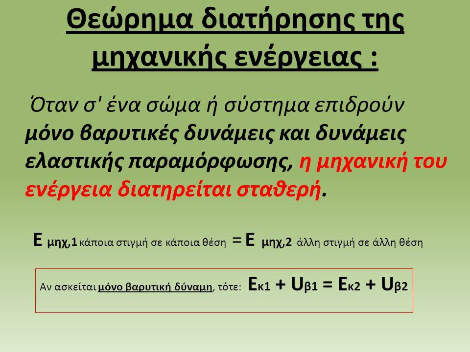 Θεώρημα διατήρησης της μηχανικής ενέργειας : Όταν σ ένα σώμα ή σύστημα επιδρούν μόνο βαρυτικές δυνάμεις και δυνάμεις ελαστικής παραμόρφωσης, η μηχανική του ενέργεια διατηρείται σταθερή.