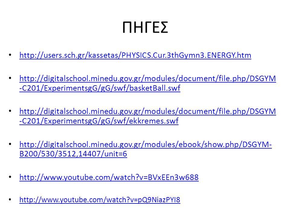 ΠΗΓΕΣ http://users.sch.gr/kassetas/PHYSICS.Cur.3thGymn3.ENERGY.htm http://digitalschool.minedu.gov.gr/modules/document/file.php/DSGYM -C201/ExperimentsgG/gG/swf/basketBall.swf http://digitalschool.minedu.gov.gr/modules/document/file.php/DSGYM -C201/ExperimentsgG/gG/swf/basketBall.swf http://digitalschool.minedu.gov.gr/modules/document/file.php/DSGYM -C201/ExperimentsgG/gG/swf/ekkremes.swf http://digitalschool.minedu.gov.gr/modules/document/file.php/DSGYM -C201/ExperimentsgG/gG/swf/ekkremes.swf http://digitalschool.minedu.gov.gr/modules/ebook/show.php/DSGYM- B200/530/3512,14407/unit=6 http://digitalschool.minedu.gov.gr/modules/ebook/show.php/DSGYM- B200/530/3512,14407/unit=6 http://www.youtube.com/watch?v=BVxEEn3w688 http://www.youtube.com/watch?v=pQ9NiazPYI8