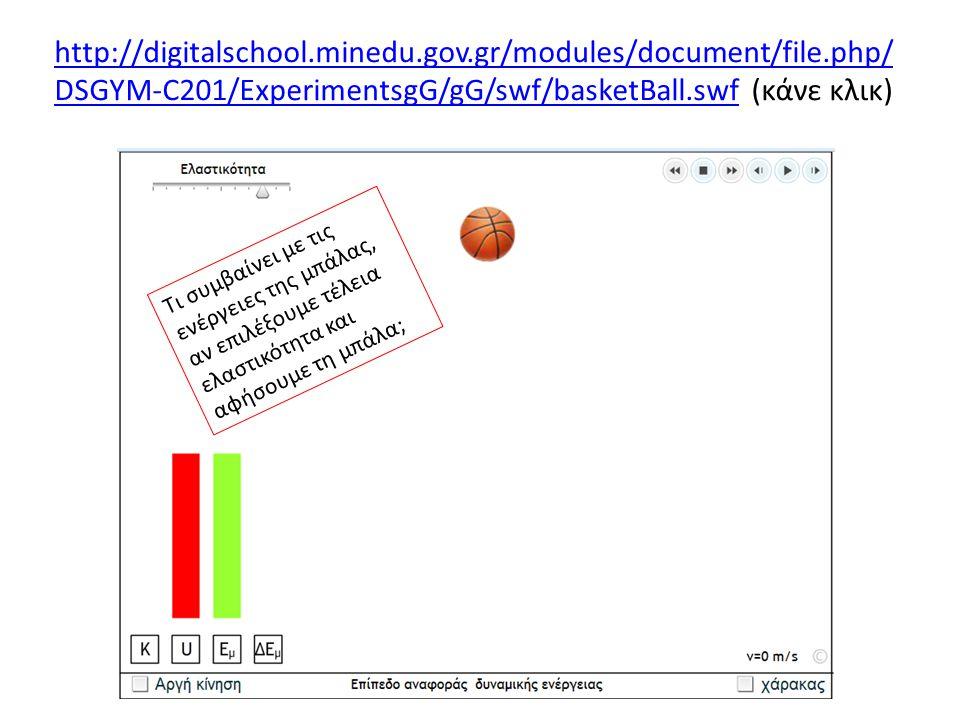 http://digitalschool.minedu.gov.gr/modules/document/file.php/ DSGYM-C201/ExperimentsgG/gG/swf/basketBall.swfhttp://digitalschool.minedu.gov.gr/modules/document/file.php/ DSGYM-C201/ExperimentsgG/gG/swf/basketBall.swf (κάνε κλικ) Τι συμβαίνει με τις ενέργειες της μπάλας, αν επιλέξουμε τέλεια ελαστικότητα και αφήσουμε τη μπάλα;