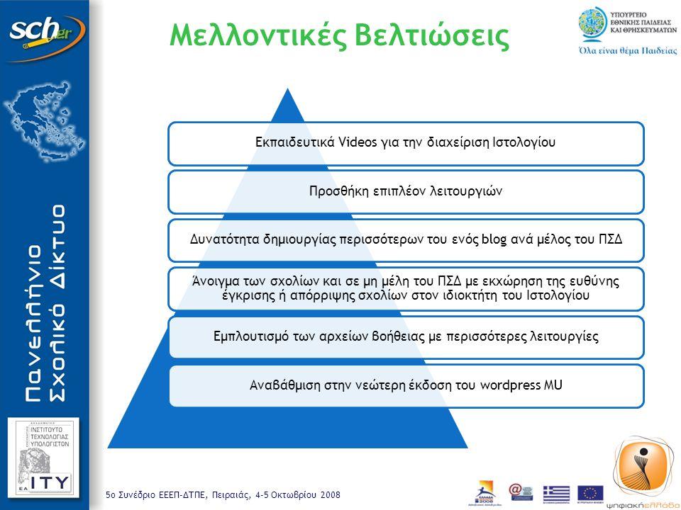 5o Συνέδριο ΕΕΕΠ-ΔΤΠΕ, Πειραιάς, 4-5 Οκτωβρίου 2008 Μελλοντικές Βελτιώσεις Εκπαιδευτικά Videos για την διαχείριση ΙστολογίουΠροσθήκη επιπλέον λειτουργ