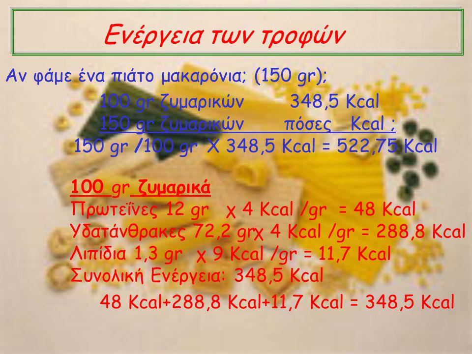 100 gr ζυμαρικά Πρωτεΐνες 12 gr Υδατάνθρακες 72,2 gr Λιπίδια 1,3 gr Συνολική Ενέργεια: 348,5 Kcal χ 4 Kcal /gr = 48 Kcal χ 4 Kcal /gr = 288,8 Kcal χ 9