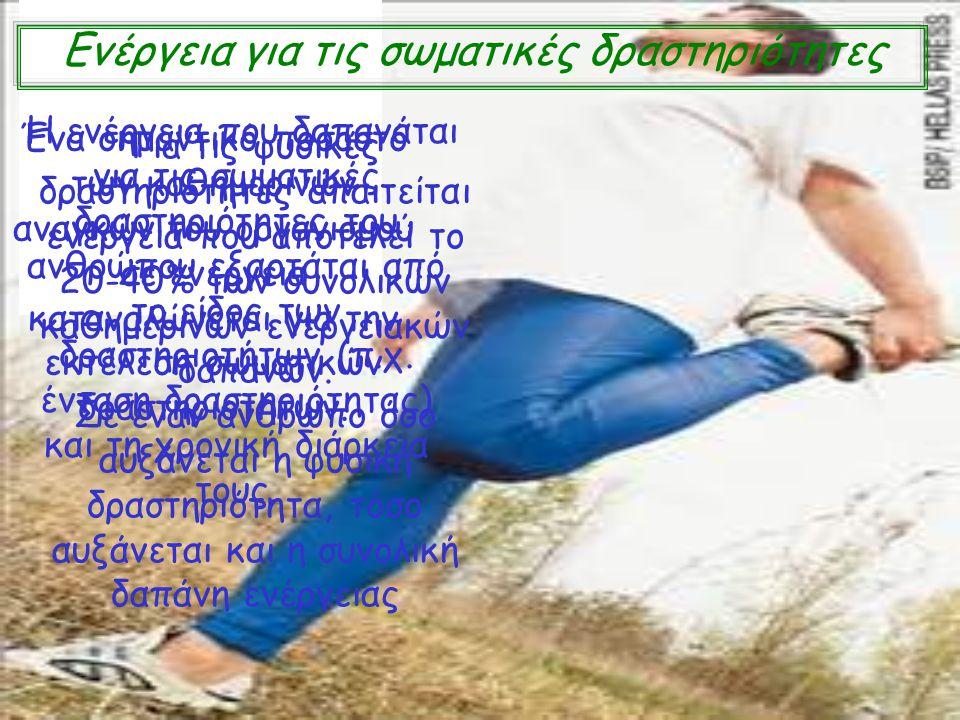 Ενέργεια για τις σωματικές δραστηριότητες Ένα σημαντικό ποσοστό των καθημερινών αναγκών του οργανισμού σε ενέργεια καταναλώνεται για την εκτέλεση σωμα