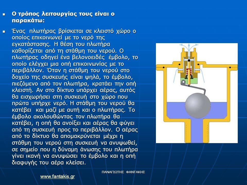 www.fantakis.gr ΠΑΝΑΓΙΩΤΗΣ ΦΑΝΤΑΚΗΣ Ο τρόπος λειτουργίας τους είναι ο παρακάτω: Ο τρόπος λειτουργίας τους είναι ο παρακάτω: Ένας πλωτήρας βρίσκεται σε κλειστό χώρο ο οποίος επικοινωνεί με το νερό της εγκατάστασης.