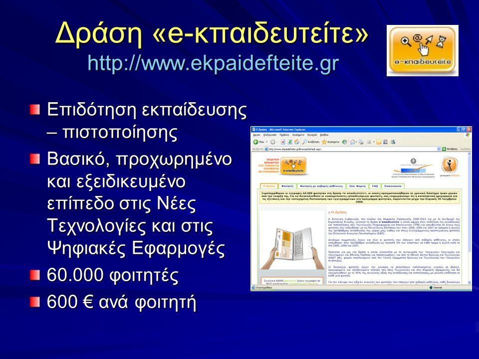 Δράση «e-κπαιδευτείτε» http://www.ekpaidefteite.gr Επιδότηση εκπαίδευσης – πιστοποίησης Βασικό, προχωρημένο και εξειδικευμένο επίπεδο στις Νέες Τεχνολογίες και στις Ψηφιακές Εφαρμογές 60.000 φοιτητές 600 € ανά φοιτητή
