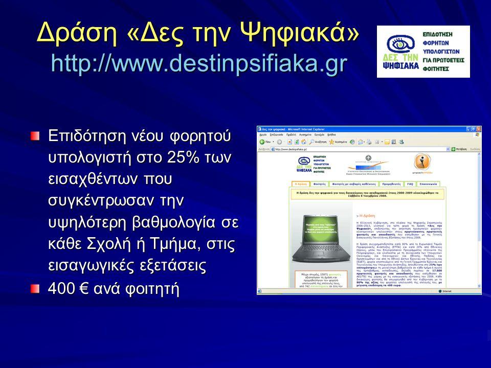 Δράση «Δες την Ψηφιακά» http://www.destinpsifiaka.gr Επιδότηση νέου φορητού υπολογιστή στο 25% των εισαχθέντων που συγκέντρωσαν την υψηλότερη βαθμολογία σε κάθε Σχολή ή Τμήμα, στις εισαγωγικές εξετάσεις 400 € ανά φοιτητή