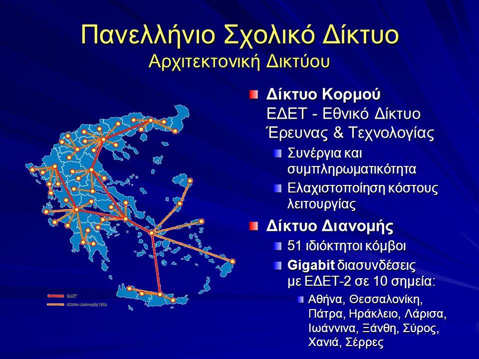 Πανελλήνιο Σχολικό Δίκτυο Αρχιτεκτονική Δικτύου Δίκτυο Κορμού ΕΔΕΤ - Εθνικό Δίκτυο Έρευνας & Τεχνολογίας Συνέργια και συμπληρωματικότητα Ελαχιστοποίηση κόστους λειτουργίας Δίκτυο Διανομής 51 ιδιόκτητοι κόμβοι Gigabit διασυνδέσεις με ΕΔΕΤ-2 σε 10 σημεία: Αθήνα, Θεσσαλονίκη, Πάτρα, Ηράκλειο, Λάρισα, Ιωάννινα, Ξάνθη, Σύρος, Χανιά, Σέρρες