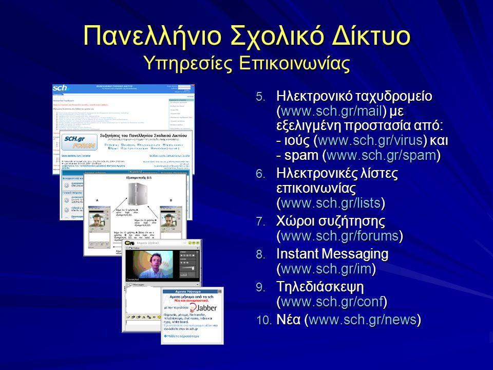 Πανελλήνιο Σχολικό Δίκτυο Υπηρεσίες Επικοινωνίας 5. Ηλεκτρονικό ταχυδρομείο (www.sch.gr/mail) με εξελιγμένη προστασία από: - ιούς (www.sch.gr/virus) κ