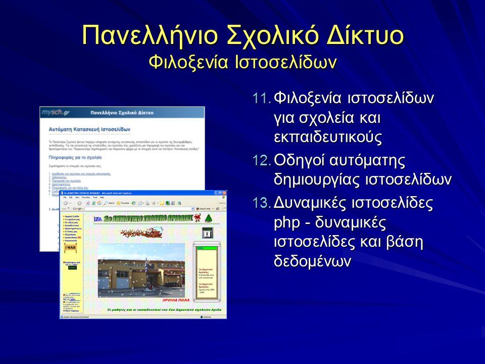 Πανελλήνιο Σχολικό Δίκτυο Φιλοξενία Ιστοσελίδων 11. Φιλοξενία ιστοσελίδων για σχολεία και εκπαιδευτικούς 12. Οδηγοί αυτόματης δημιουργίας ιστοσελίδων