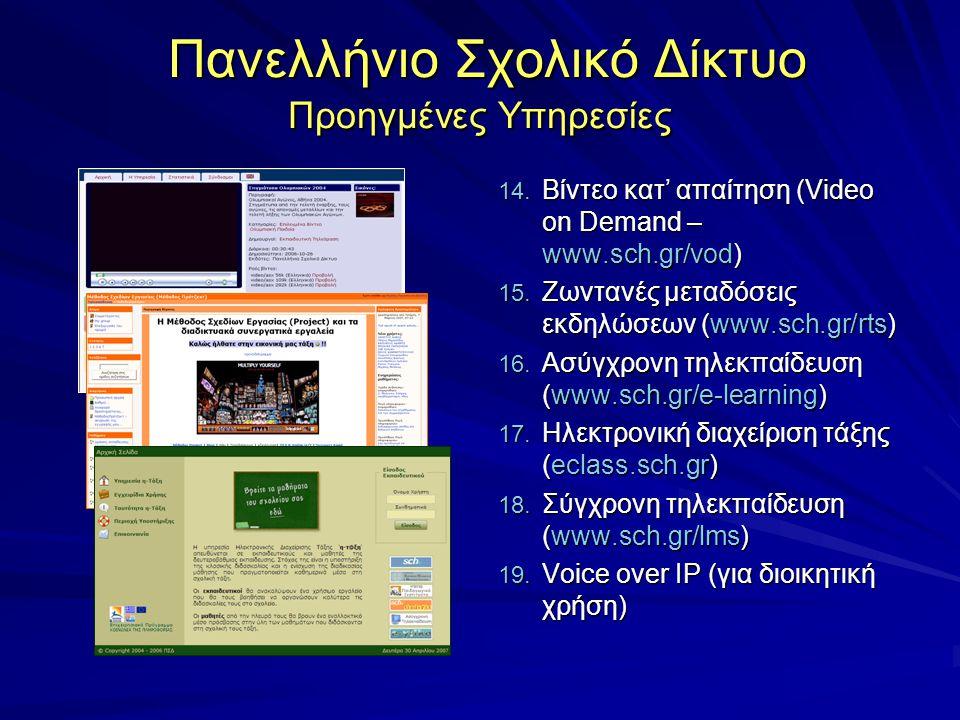 Πανελλήνιο Σχολικό Δίκτυο Προηγμένες Υπηρεσίες Πανελλήνιο Σχολικό Δίκτυο Προηγμένες Υπηρεσίες 14. Βίντεο κατ' απαίτηση (Video on Demand – www.sch.gr/v