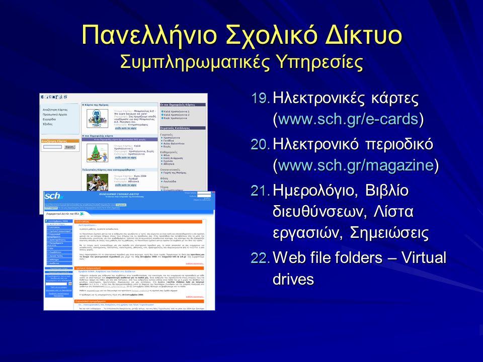 Πανελλήνιο Σχολικό Δίκτυο Συμπληρωματικές Υπηρεσίες 19. Ηλεκτρονικές κάρτες (www.sch.gr/e-cards) 20. Ηλεκτρονικό περιοδικό (www.sch.gr/magazine) 21. Η