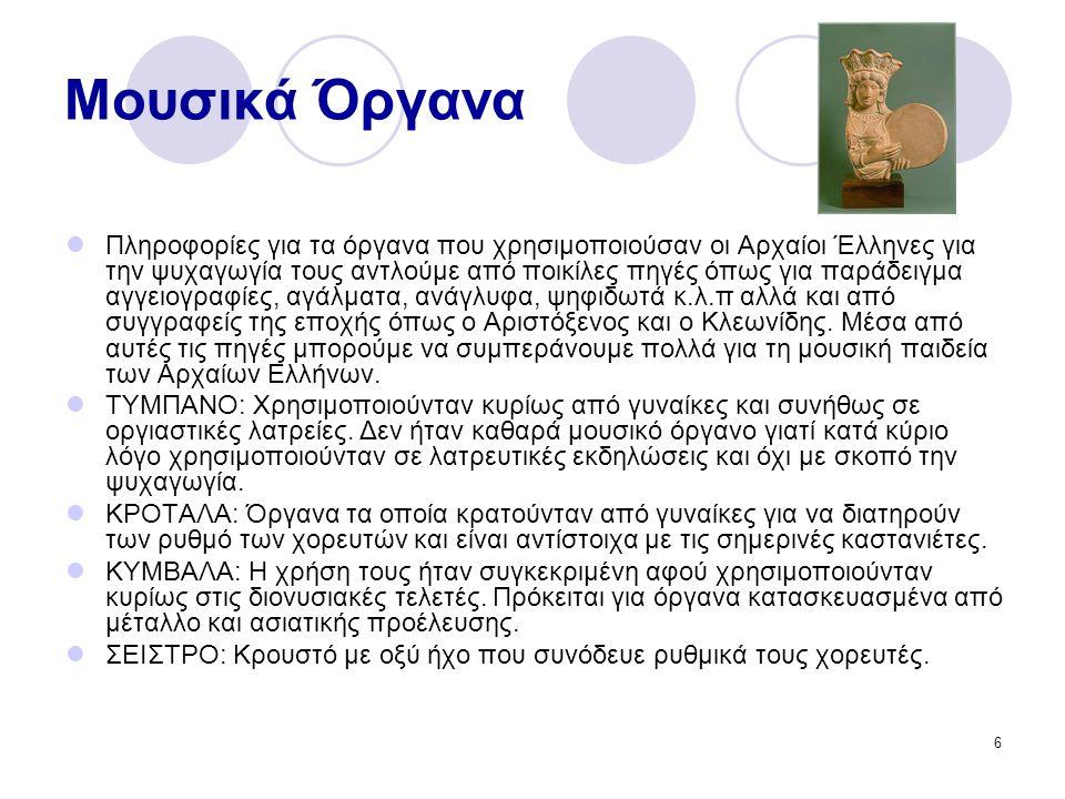 6 Μουσικά Όργανα Πληροφορίες για τα όργανα που χρησιμοποιούσαν οι Αρχαίοι Έλληνες για την ψυχαγωγία τους αντλούμε από ποικίλες πηγές όπως για παράδειγμα αγγειογραφίες, αγάλματα, ανάγλυφα, ψηφιδωτά κ.λ.π αλλά και από συγγραφείς της εποχής όπως ο Αριστόξενος και ο Κλεωνίδης.