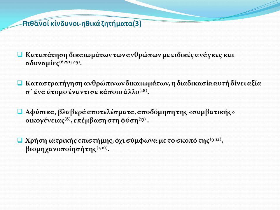 Πιθανοί κίνδυνοι-ηθικά ζητήματα(3)  Καταπάτηση δικαιωμάτων των ανθρώπων με ειδικές ανάγκες και αδυναμίες (6,7,14,19).