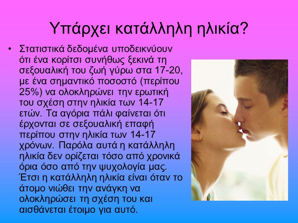 Υπάρχει κατάλληλη ηλικία? Στατιστικά δεδοµένα υποδεικνύουν ότι ένα κορίτσι συνήθως ξεκινά τη σεξουαλική του ζωή γύρω στα 17-20, µε ένα σηµαντικό ποσοσ