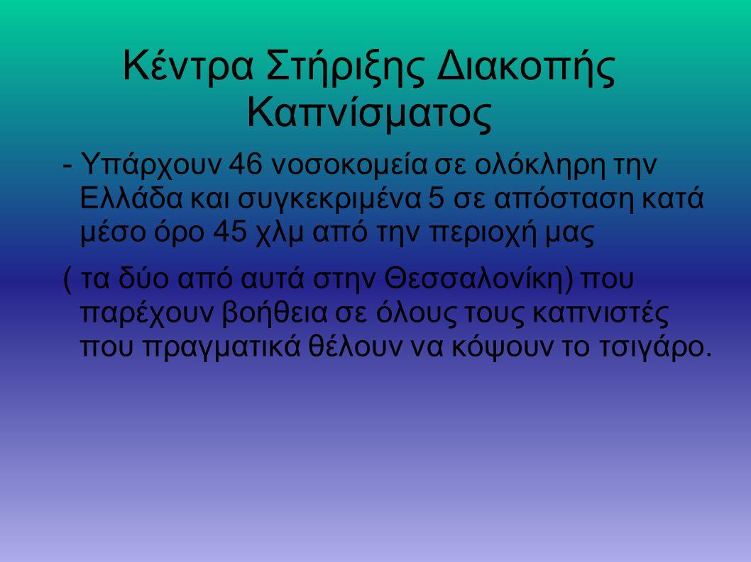 Κέντρα Στήριξης Διακοπής Καπνίσματος - Υπάρχουν 46 νοσοκομεία σε ολόκληρη την Ελλάδα και συγκεκριμένα 5 σε απόσταση κατά μέσο όρο 45 χλμ από την περιο