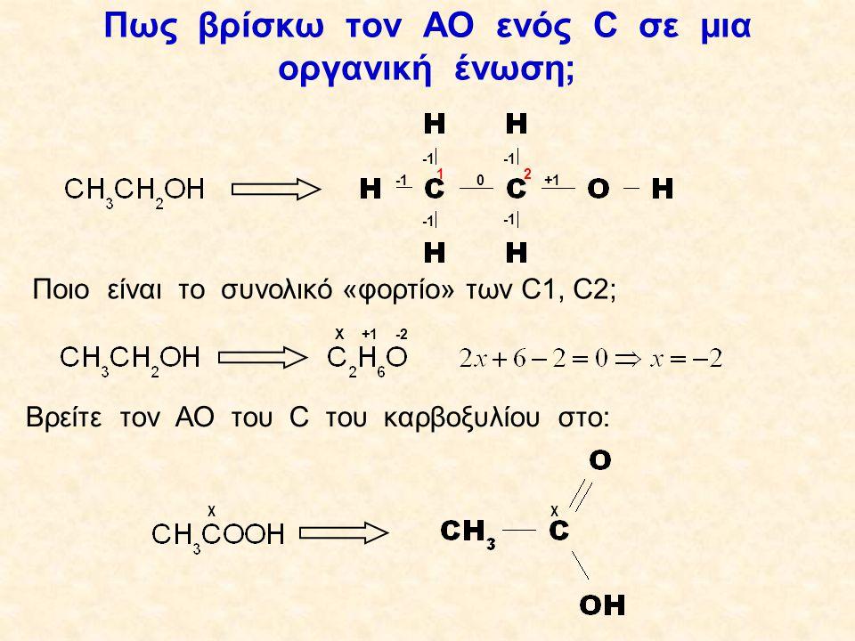 Ποιες οργανικές ενώσεις οξειδώνονται και προς τι Πρωτοταγείς αλκοόλες → αλδεΰδες → καρβοξυλικά οξέα R-CH 2 OH RCH=O RCOOH Δευτεροταγείς αλκοόλες → κετόνες Οι τριτοταγείς αλκοόλες δεν οξειδώνονται Τα HCOOH/HCOONa προς CO 2 Τα (COOH) 2 /(COONa) 2 R-CH-R΄R-CH-R΄ OH R-C-R΄ O