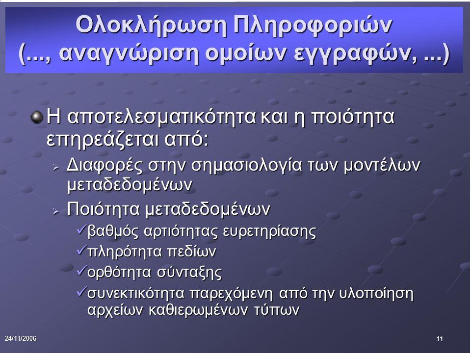11 24/11/2006 Η αποτελεσματικότητα και η ποιότητα επηρεάζεται από:  Διαφορές στην σημασιολογία των μοντέλων μεταδεδομένων  Ποιότητα μεταδεδομένων βαθμός αρτιότητας ευρετηρίασης βαθμός αρτιότητας ευρετηρίασης πληρότητα πεδίων πληρότητα πεδίων ορθότητα σύνταξης ορθότητα σύνταξης συνεκτικότητα παρεχόμενη από την υλοποίηση αρχείων καθιερωμένων τύπων συνεκτικότητα παρεχόμενη από την υλοποίηση αρχείων καθιερωμένων τύπων Ολοκλήρωση Πληροφοριών (..., αναγνώριση ομοίων εγγραφών,...)