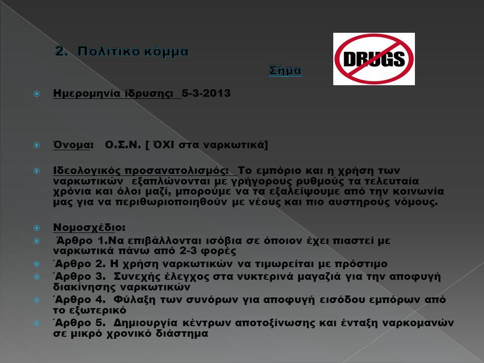  Ημερομηνία ίδρυσης: 5-3-2013  Όνομα: Ο.Σ.Ν. [ ΌΧΙ στα ναρκωτικά]  Ιδεολογικός προσανατολισμός: Το εμπόριο και η χρήση των ναρκωτικών εξαπλώνονται