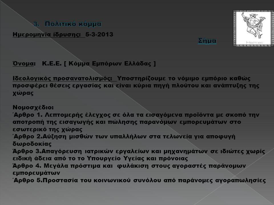 Ημερομηνία ίδρυσης: 5-3-2013 Όνομα: Κ.Ε.Ε. [ Κόμμα Εμπόρων Ελλάδας ] Ιδεολογικός προσανατολισμός: Υποστηρίζουμε το νόμιμο εμπόριο καθώς προσφέρει θέσε