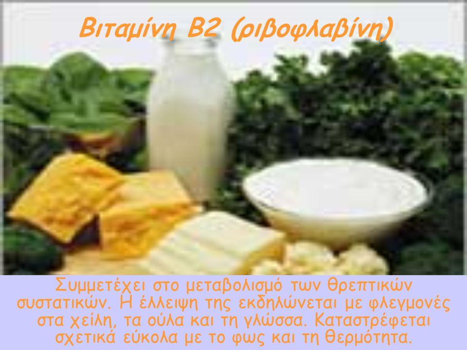 Βιταμίνη Β2 (ριβοφλαβίνη) Όλα τα γαλακτοκομικά προϊόντα, καθώς και, σε μικρότερο βαθμό, τα αβγά, το κρέας και τα όσπρια. Μικρές ποσότητες υπάρχουν και
