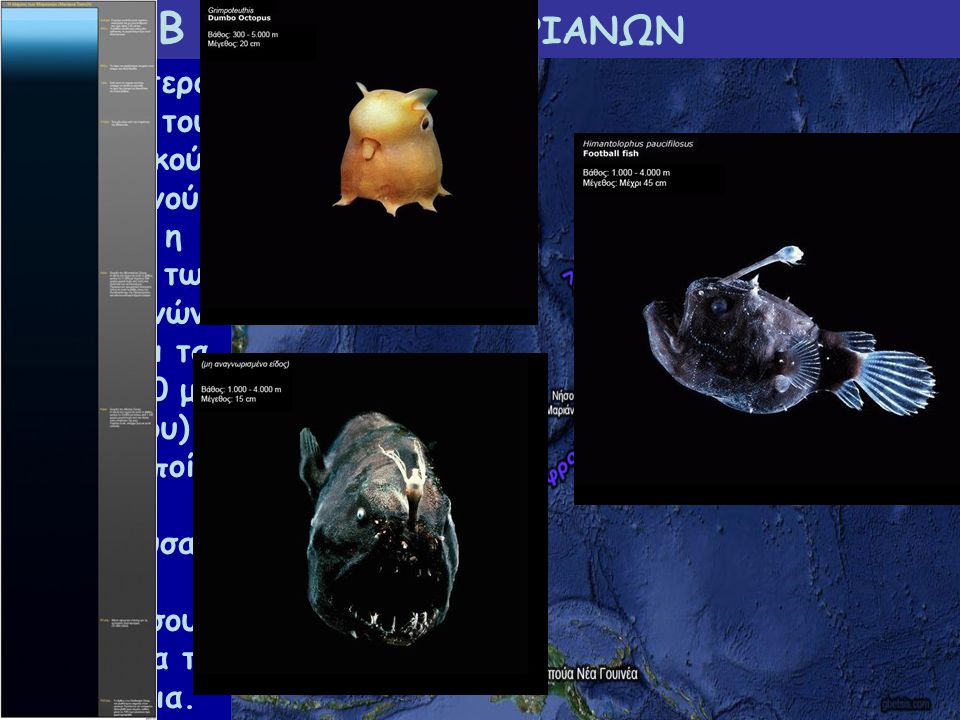 Β 3.2 ΤΑΦΡΟΣ ΜΑΡΙΑΝΩΝ Το βαθύτερο σημείο του Ειρηνικού Ωκεανού είναι η τάφρος των Μαριανών (φτάνει τα 11.000 μ. περίπου), στην οποία θα μπορούσαν να «