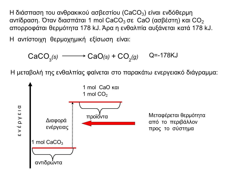 Η διάσπαση του ανθρακικού ασβεστίου (CaCO 3 ) είναι ενδόθερμη αντίδραση.