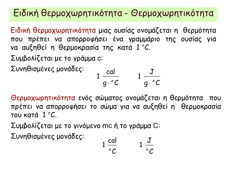 Ειδική θερμοχωρητικότητα - Θερμοχωρητικότητα Ειδική θερμοχωρητικότητα μιας ουσίας ονομάζεται η θερμότητα που πρέπει να απορροφήσει ένα γραμμάριο της ουσίας για να αυξηθεί η θερμοκρασία της κατά 1 °C.