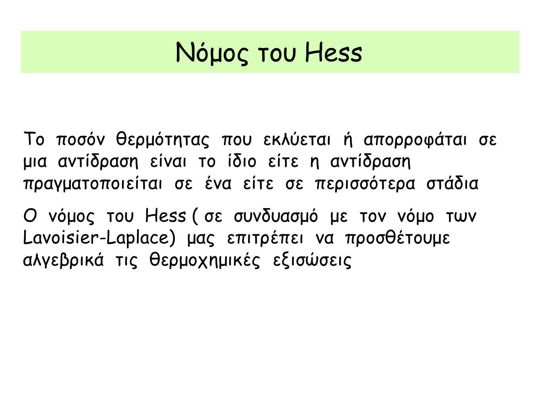 Νόμος του Hess Το ποσόν θερμότητας που εκλύεται ή απορροφάται σε μια αντίδραση είναι το ίδιο είτε η αντίδραση πραγματοποιείται σε ένα είτε σε περισσότ
