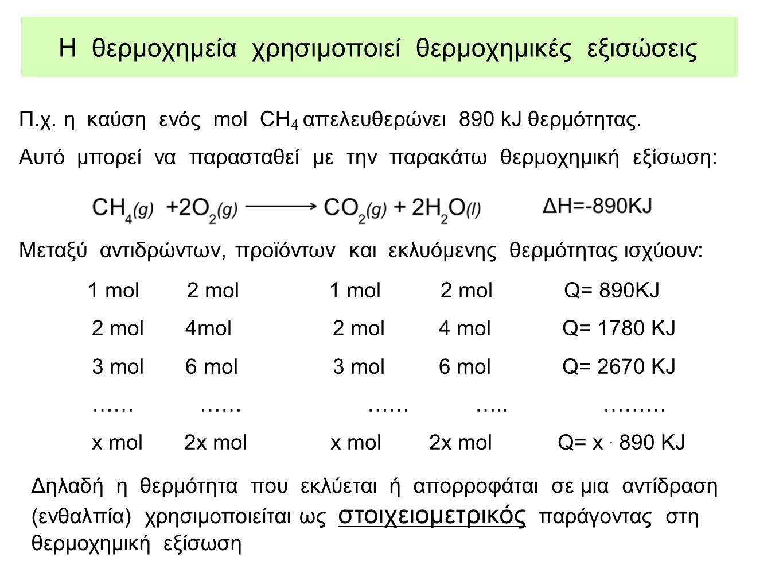 Η θερμοχημεία χρησιμοποιεί θερμοχημικές εξισώσεις Π.χ. η καύση ενός mol CH 4 απελευθερώνει 890 kJ θερμότητας. Αυτό μπορεί να παρασταθεί με την παρακάτ