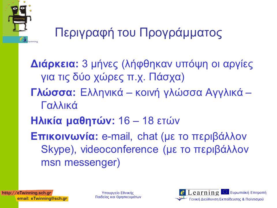 Ευρωπαϊκή Επιτροπή Γενική Διεύθυνση Εκπαίδευσης & Πολιτισμού Υπουργείο Εθνικής Παιδείας και Θρησκευμάτων Οργανωθήκαμε Οργάνωση σε ομάδες εργασίας Καθορισμός θεμάτων για έρευνα: κάθε εβδομάδα και ένα συγκεκριμένο θέμα από τις ενότητες των παραδόσεων και του πολιτισμού Συλλογή υλικού: έρευνα σε Διαδίκτυο, Βιβλιοθήκες, συνεντεύξεις, κλπ.