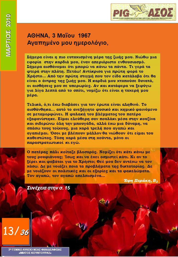 ΜΑΡΤΙΟΣ 2010 3 Ο ΓΕΝΙΚΟ ΛΥΚΕΙΟ ΝΕΑΣ ΦΙΛΑΔΕΛΦΕΙΑΣ «ΜΙΛΤΟΣ ΚΟΥΝΤΟΥΡΑΣ» 36 12/ 36 Έρως φιλοσοφικός Στο «Συμπόσιο» του Πλάτωνα ο Σωκράτης λέει ότι ο Έρως