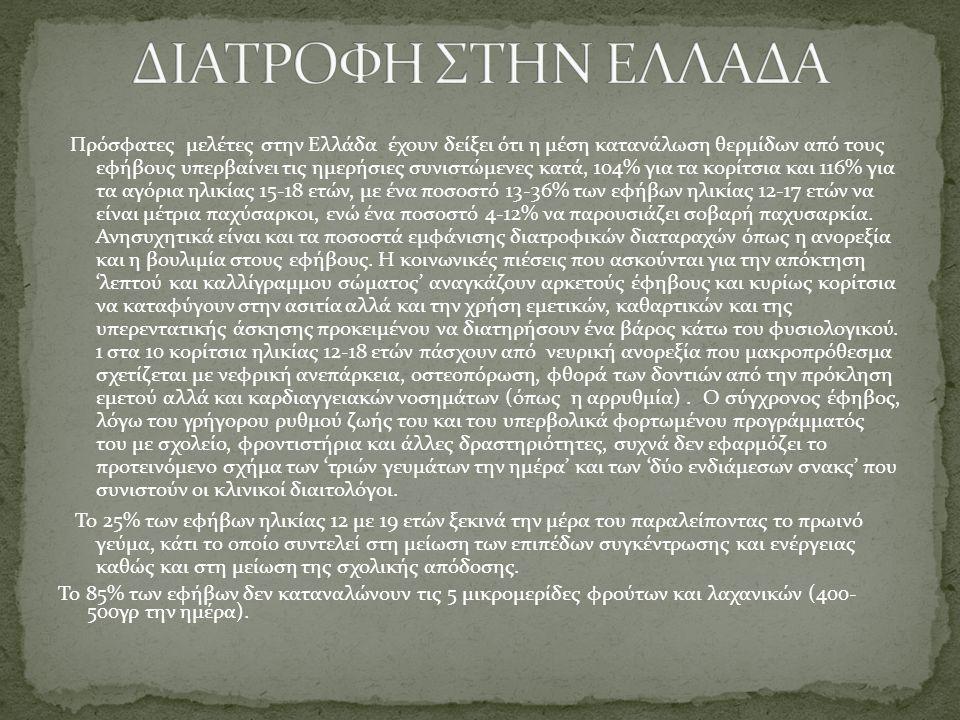 Πρόσφατες μελέτες στην Ελλάδα έχουν δείξει ότι η μέση κατανάλωση θερμίδων από τους εφήβους υπερβαίνει τις ημερήσιες συνιστώμενες κατά, 104% για τα κορ