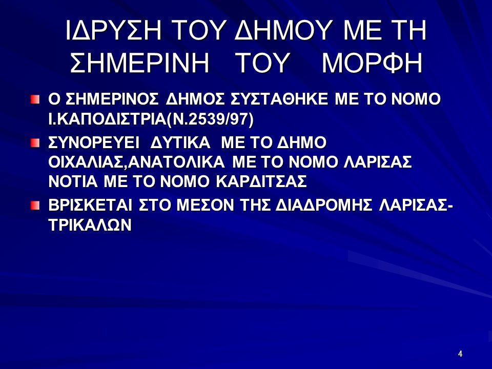 4 ΙΔΡΥΣΗ ΤΟΥ ΔΗΜΟΥ ΜΕ ΤΗ ΣΗΜΕΡΙΝΗ ΤΟΥ ΜΟΡΦΗ Ο ΣΗΜΕΡΙΝΟΣ ΔΗΜΟΣ ΣΥΣΤΑΘΗΚΕ ΜΕ ΤΟ ΝΟΜΟ Ι.ΚΑΠΟΔΙΣΤΡΙΑ(Ν.2539/97) ΣΥΝΟΡΕΥΕΙ ΔΥΤΙΚΑ ΜΕ ΤΟ ΔΗΜΟ ΟΙΧΑΛΙΑΣ,ΑΝΑΤΟΛΙΚΑ ΜΕ ΤΟ ΝΟΜΟ ΛΑΡΙΣΑΣ ΝΟΤΙΑ ΜΕ ΤΟ ΝΟΜΟ ΚΑΡΔΙΤΣΑΣ ΒΡΙΣΚΕΤΑΙ ΣΤΟ ΜΕΣΟΝ ΤΗΣ ΔΙΑΔΡΟΜΗΣ ΛΑΡΙΣΑΣ- ΤΡΙΚΑΛΩΝ