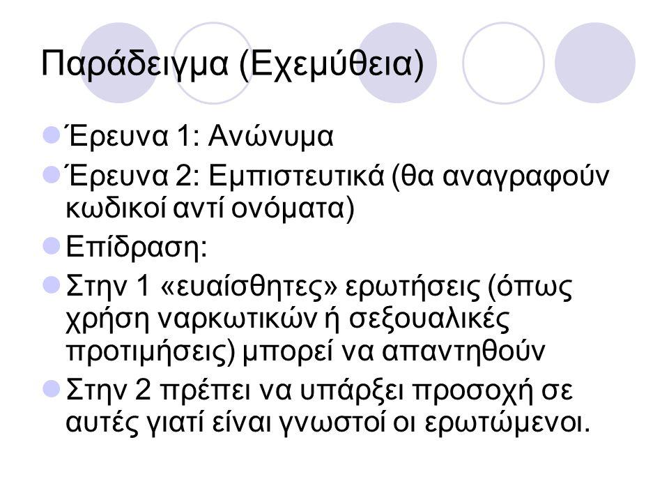 Παράδειγμα (Εχεμύθεια) Έρευνα 1: Ανώνυμα Έρευνα 2: Εμπιστευτικά (θα αναγραφούν κωδικοί αντί ονόματα) Επίδραση: Στην 1 «ευαίσθητες» ερωτήσεις (όπως χρήση ναρκωτικών ή σεξουαλικές προτιμήσεις) μπορεί να απαντηθούν Στην 2 πρέπει να υπάρξει προσοχή σε αυτές γιατί είναι γνωστοί οι ερωτώμενοι.