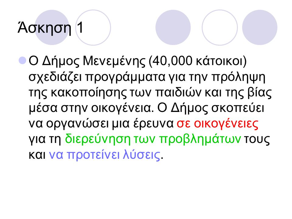 Άσκηση 1 Ο Δήμος Μενεμένης (40,000 κάτοικοι) σχεδιάζει προγράμματα για την πρόληψη της κακοποίησης των παιδιών και της βίας μέσα στην οικογένεια. Ο Δή