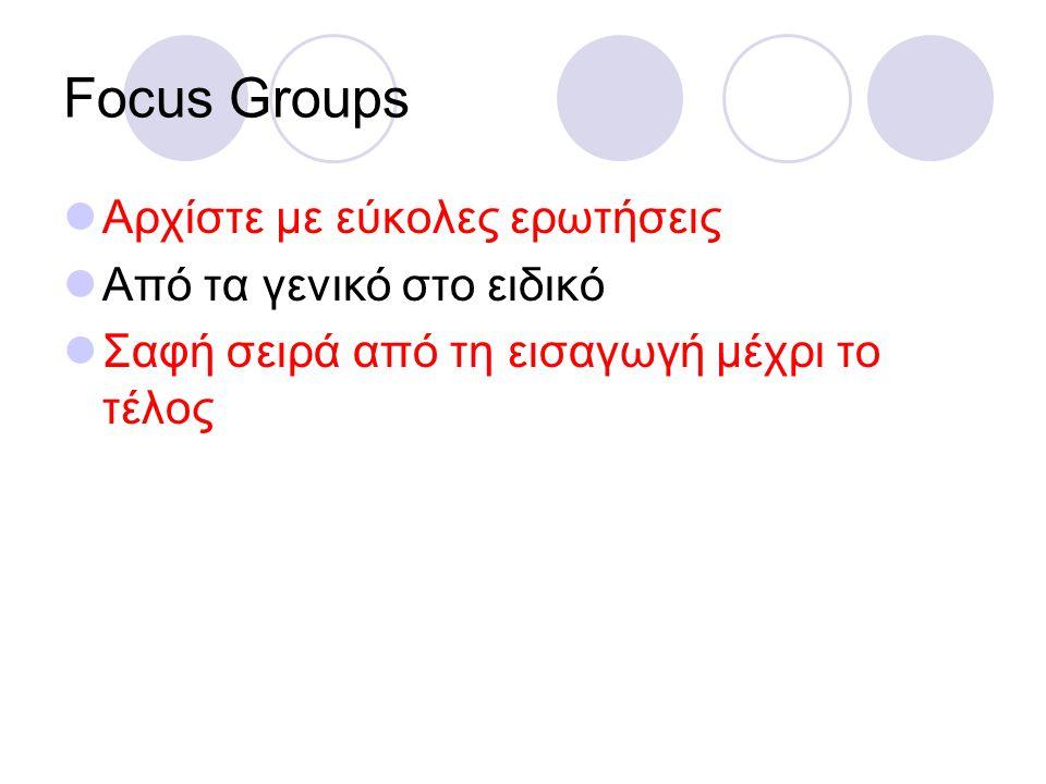 Focus Groups Αρχίστε με εύκολες ερωτήσεις Από τα γενικό στο ειδικό Σαφή σειρά από τη εισαγωγή μέχρι το τέλος