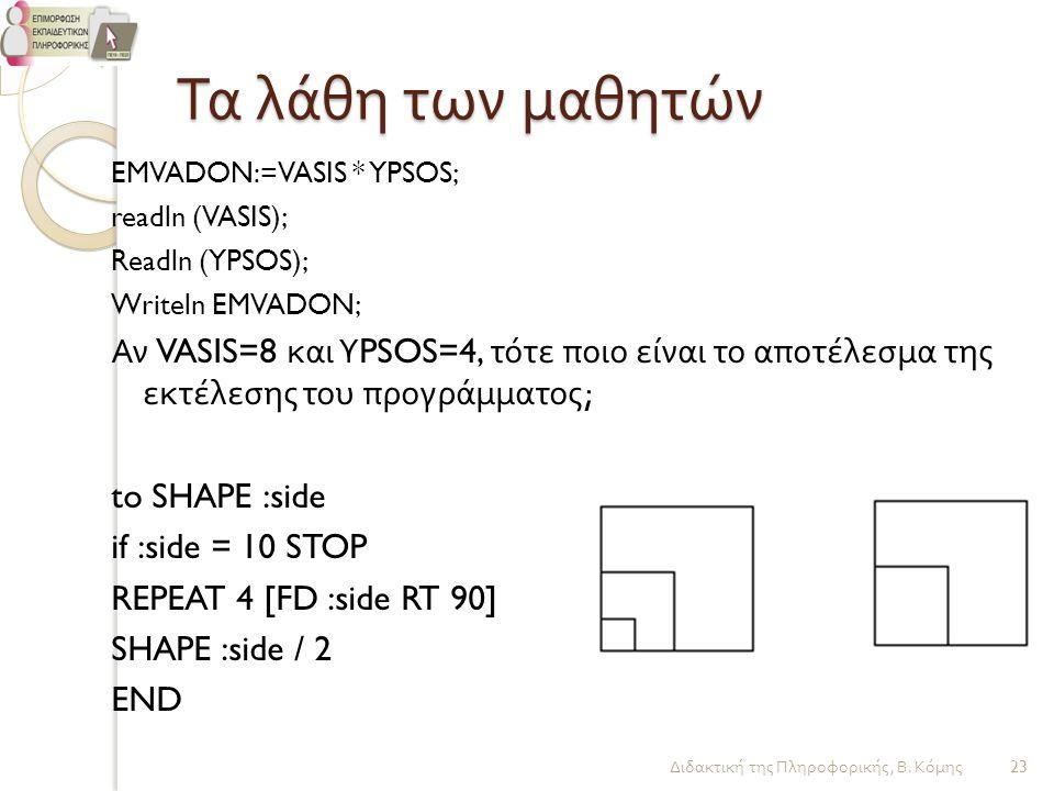 Τα λάθη των μαθητών EMVADON:=VASIS * YPSOS; readln (VASIS); Readln (YPSOS); Writeln EMVADON; Αν VASIS=8 και Υ PSOS=4, τότε ποιο είναι το αποτέλεσμα τη