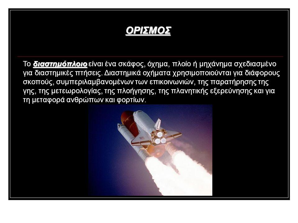 ΟΡΙΣΜΟΣ Το δ δδ διαστημόπλοιο είναι ένα σκάφος, όχημα, πλοίο ή μηχάνημα σχεδιασμένο για διαστημικές πτήσεις.