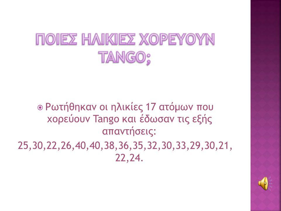  Ρωτήθηκαν οι ηλικίες 17 ατόμων που χορεύουν Tango και έδωσαν τις εξής απαντήσεις: 25,30,22,26,40,40,38,36,35,32,30,33,29,30,21, 22,24.